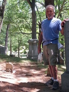 The author at H.D. Thoreau's Grave, Concord MA
